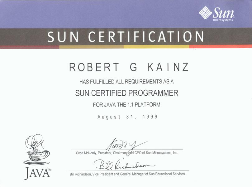 Www Robertkainz Com Java Certification
